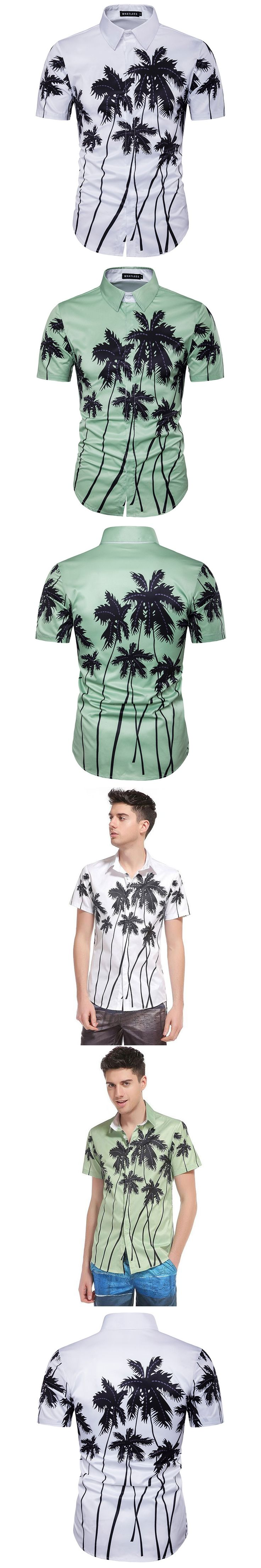 2017 Summer New Men Hawaii 3D Palm Tree Print Short Sleeve Shirt Fashion Casual Flower Shirt Sandy Beach Men Shirt High Quality
