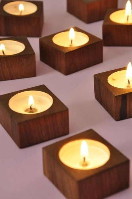 Reclaimed Walnut Wood Tea Candle Votive Holder