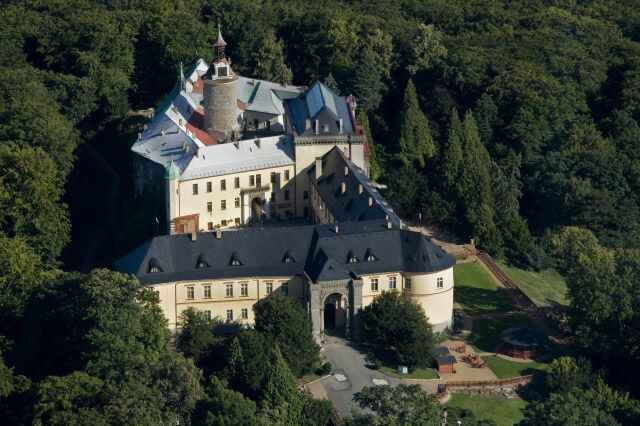 Zbiroh Chateau and Castle - top view