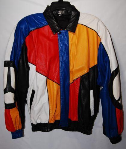dc170c961 Vintage-80-s-90-s-MERCEDES-BENZ-Leather-Multi-color-Bomber-Jacket-Size-XL