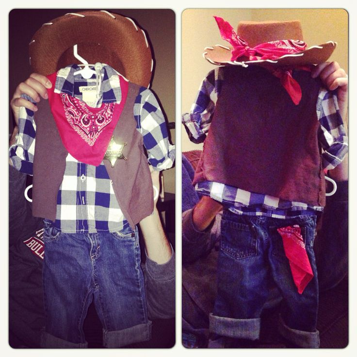 :: Homemade DIY Toddler Cowboy Costume::    Vest: Brown T-shirt turned inside out and cut. Sewed (hand stitch) vest to flannel. Bandana: cut into thirds. Sewed one piece(hand stitch) in back pocket, one piece tied around hat and another tied around neck.