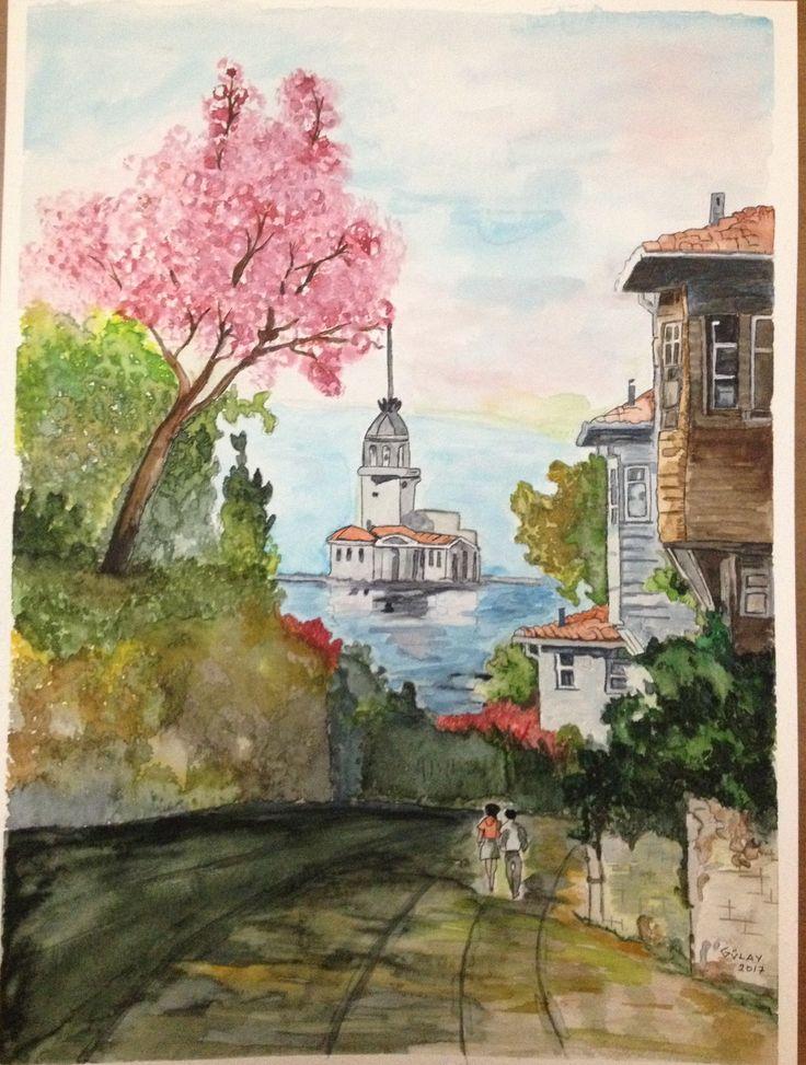 Kız kulesi SULUBOYA ÇALIŞMASI..❤️❤️#watercolor #suluboya #sanat #resim