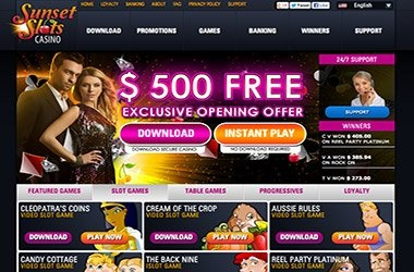 Sunset Slots Casino review. Powered by Rival Gaming. Check our review and get $30 exclusive no deposit bonus!  http://www.freeextrachips.com/reviews/online-casino/sunset-slots.html