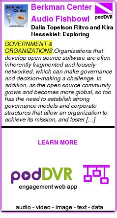 #GOVERNMENT #PODCAST  Berkman Center Audio Fishbowl    Dalia Topelson Ritvo and Kira Hessekiel: Exploring Corporate Structures and Governance Models for the Open-Source Community [AUDIO]    READ:  https://podDVR.COM/?c=fb360e41-af8d-0a77-22dd-042fa45943ac
