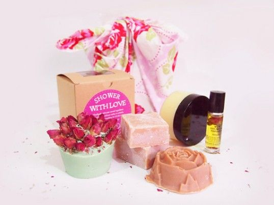 perfume, hair butter, soaps (Shower with love) $47.74AUD  Show your loved one how much you care with gorgeous handmade natural & organic soaps, perfume and body scrub. This unforgettable pamper pack contains everything she needs to feel positively spoiled from head to toe!  - Ring 'O' Roses Soap - Handmade Natural Perfume – Attraction Oil - Rose Cream Clay Facial Soap - Nourishing Rose Sugar Scrub - Turkish Delight Soap - Knot wrapped