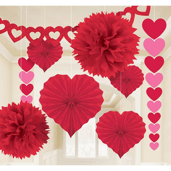 Instantly fill your room with loving spirit with these fab Valentine's Day decorations! Featuring heart banners, garlands, red fluffies, and more, the Valentines Decorating Kit is sure to add an air