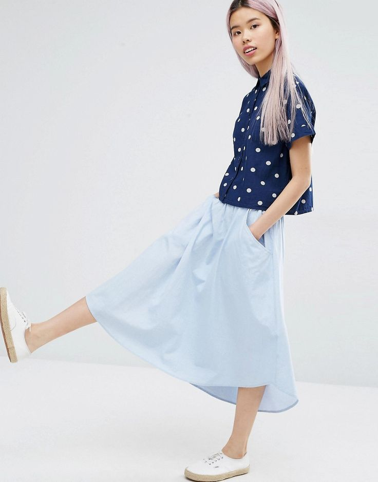 Image 1 of Monki Chambray Midi Skirt