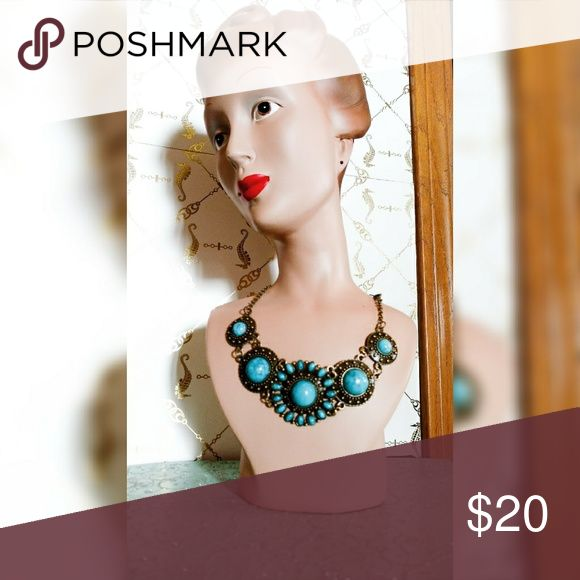 Turquoise Necklace Stellar Turquoise Color Costume Necklace  Beautiful & Lightweight  Perfect To Spice Up Any Outfit  Let's Add Some Flare to Your Wardrobe!  Lots Of Fabulous Find In My Closet!  Stop By ~ I'm Reasonable!  Let's Make A Deal!  Happy to Custom Bundle with Discount Incentives  Don't Be Shy Girl ~ You Know How To Make A Offer! Jewelry Necklaces