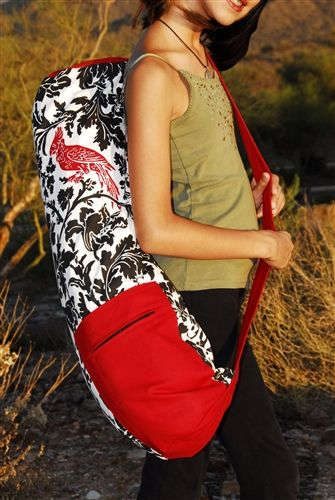 Red Bird Zipper Yoga Mat Bag Extra Large www.downdogboutique.com  #YogaBags #YogaAccessories #Yoga