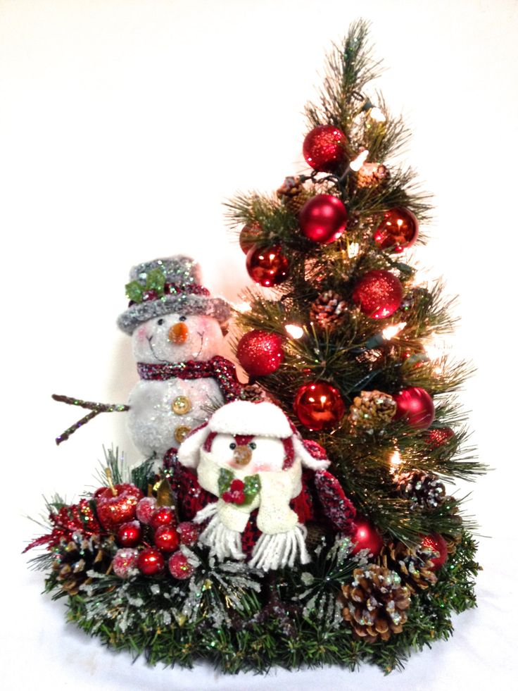 Snowman Owl Prelit Tree Tabletop Winter Arrangement
