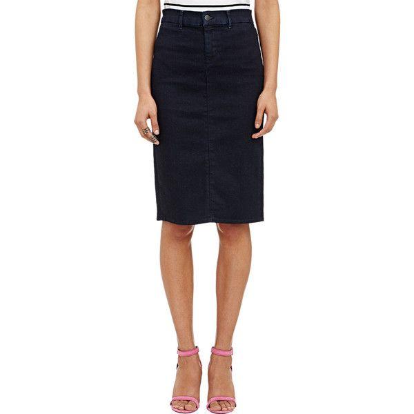 J Brand Willa Pencil Skirt (250 CAD) ❤ liked on Polyvore featuring skirts, blue, blue pencil skirt, j brand skirt, pencil skirt, knee length pencil skirt and zipper skirt