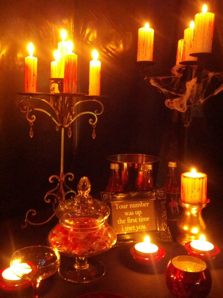 Candelabras on vampire lolly table