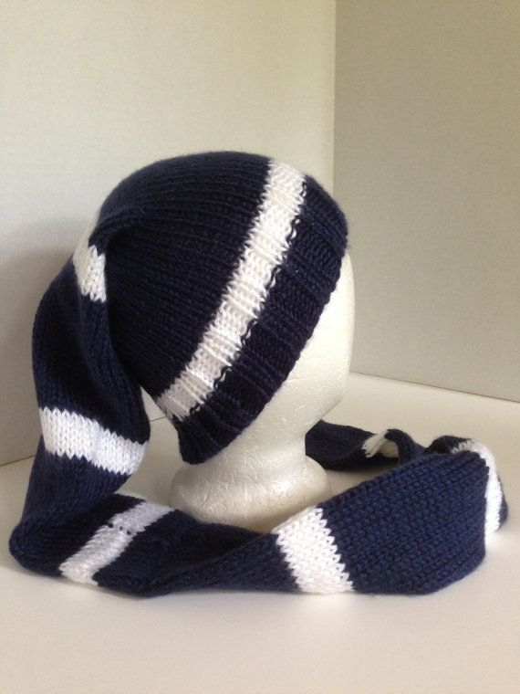 knitted stocking cap with pom pom navy blue white knitted hat tobagan