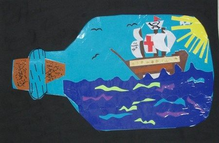Divertida tapa álbum escolar botella. Dibujar un barco pirata dentro de una botella