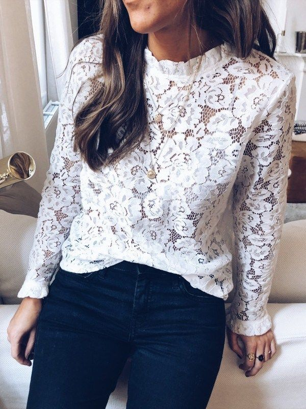 a975fcd8609786 White Patchwork Lace Ruffle High Neck Long Sleeve Blouse in 2019 ...