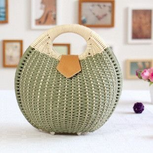 SONYABECCA 2016 Boho Women Bags Nest Basket Woven Straw Handbag Small Ladies Summer Beach Bags Rattan Weaving SALE