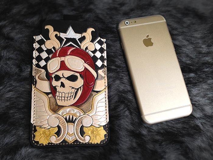 skull rider iphone 6 sleeve wallet case genuine leather handmade multi-color H14 #Handmade