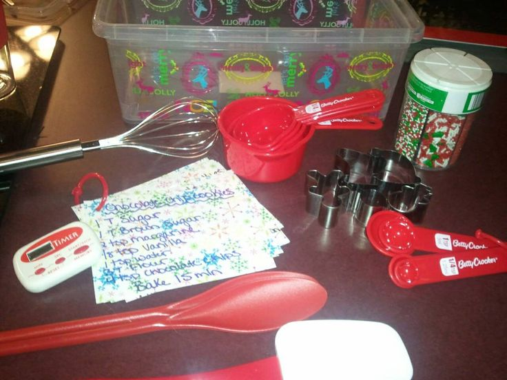 Easy bake oven kit for christmas. I found all this at the dollar tree! With easy bake oven recipes I found online.