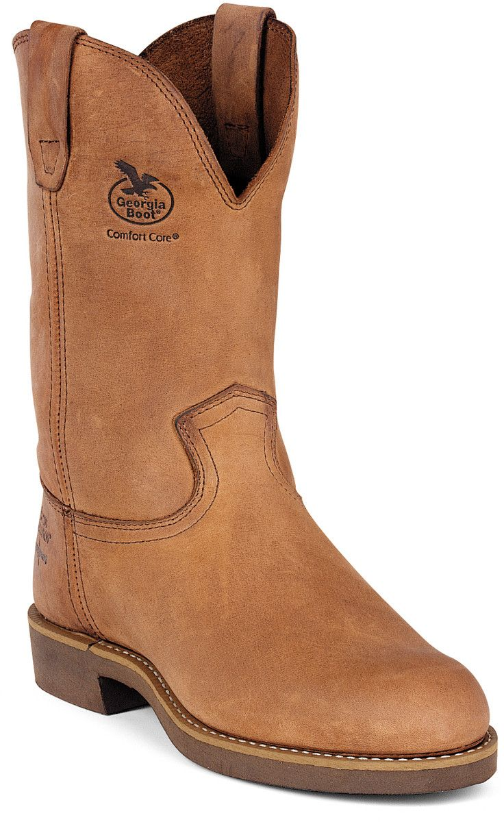 Georgia Carbo-Tec Mens Chestnut Leather Pull On Work Boots