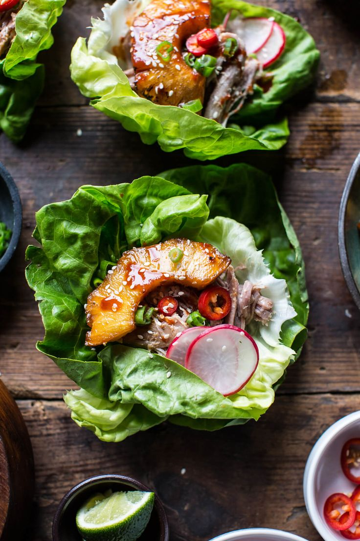 Korean Pineapple Pork Lettuce Wraps - an easy delicious meal with amazing flavor that everyone will love! From halfbakedharvest.com