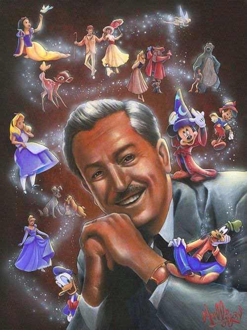 """Disney Fine Art artist Jimmy Mulligan was attending the University of California, Los Angeles, as a theatre major when he was hired to work in the art department of the Walt Disney Company. His projects there include concept design for both characters and theme park shows and attractions. """"Imagination"""" is an Original Acrylic on Board, 24 x 18."""