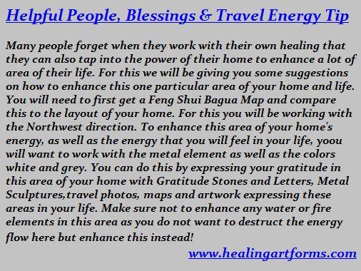 Feng Shui Bagua O Northwest Helpful People Blessings Travel Energy Tip