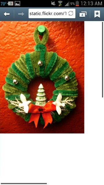 Pipe Cleaner Christmas Wreath Pipe Cleaner Crafts Pinterest