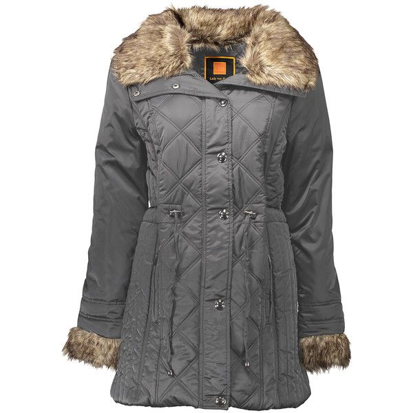 Lady von Hart Heather Charcoal Faux Fur Diamond Quilted Puffer Coat ($37) ❤ liked on Polyvore featuring outerwear, coats, plus size, zip coat, faux fur coat, long coat, fake fur coats and bomber coats