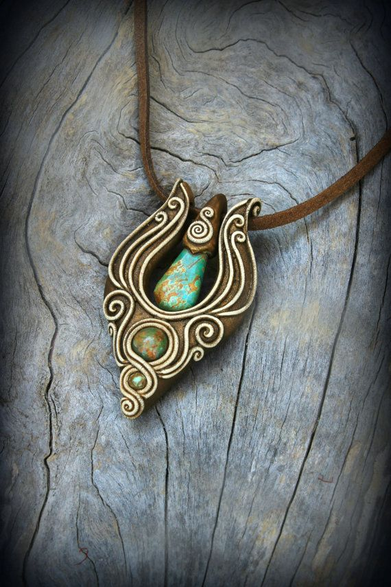 Bohemian elvish gemstone pendant clay jewelry wearable art statement necklace new age spiritual fairy tales