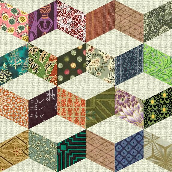 Vintage+Quilt+Patterns | SHIFTING CUBES (Necker's Cube) - Antique Geometric Quilt Designs