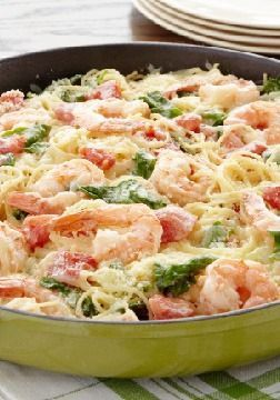 Shrimp & Pasta Formaggio — With tender shrimp in creamy sauce, this pasta recipe is special enough for Mother's Day but easy enough for any day.