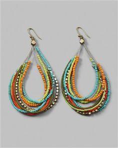Multi strand beaded ear rings        multi-strand earrings