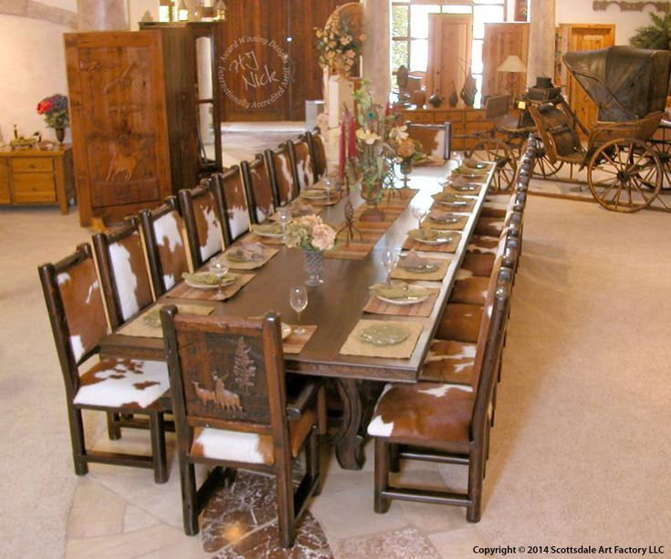 Rustic Hand Carved Lodge Table Solid, Lodge Style Dining Room Furniture