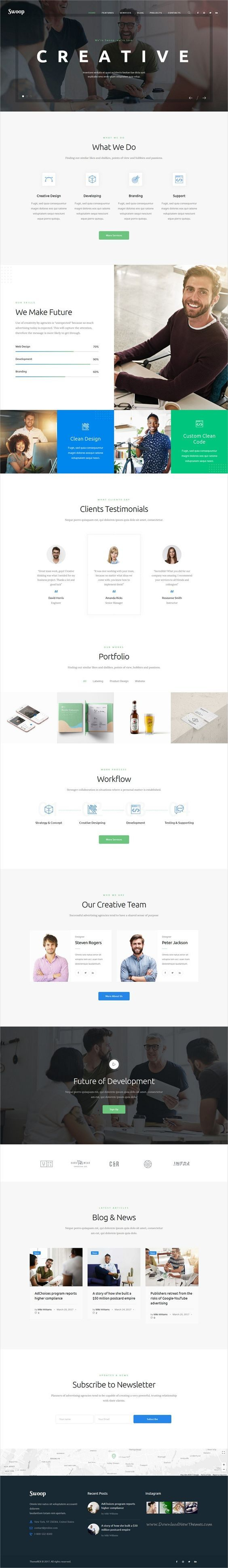 Swoop is clean and modern design 3in1 responsive #WordPress theme for web #studio and #creative agency website download now..