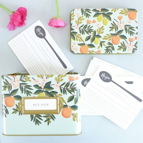 Citrus Floral Tin Recipe Box Set plus extra cards - for week night dinner inspo