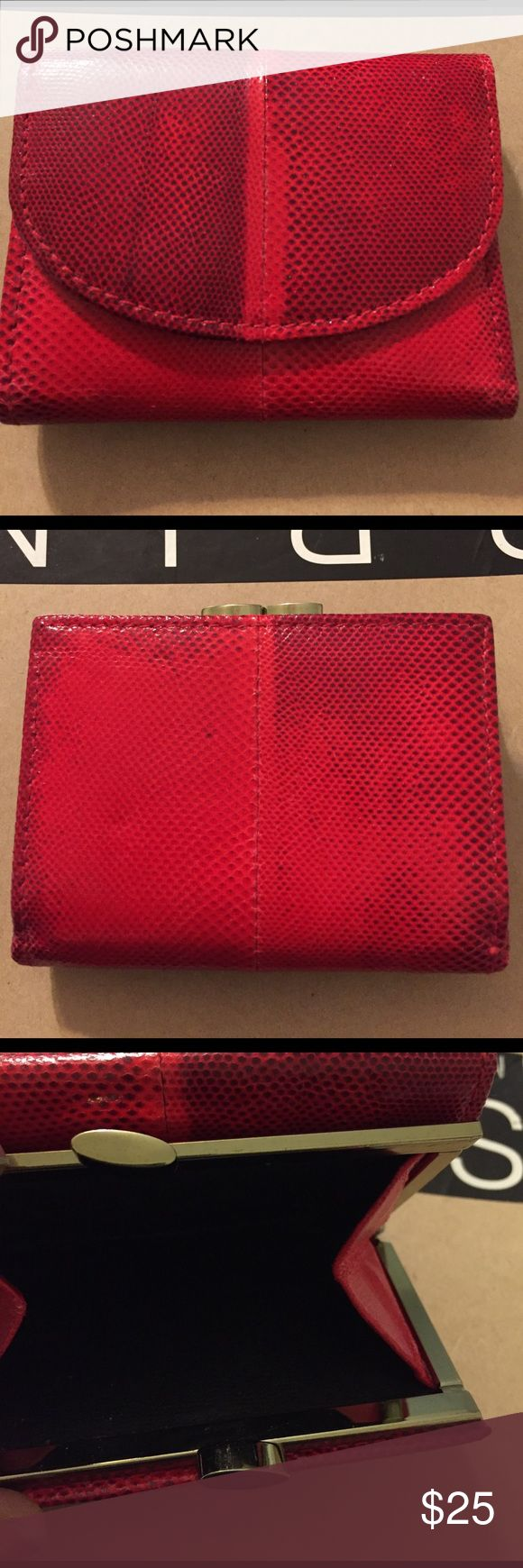 Neiman Marcus Vintage red snake skin wallet Real snake skin. Has compartment for cash, plastic is holder, compartment with 4 credit card slots, business cards. Change compartment with brass closure on the outside. 4x4x 1 Neiman Marcus Bags Wallets