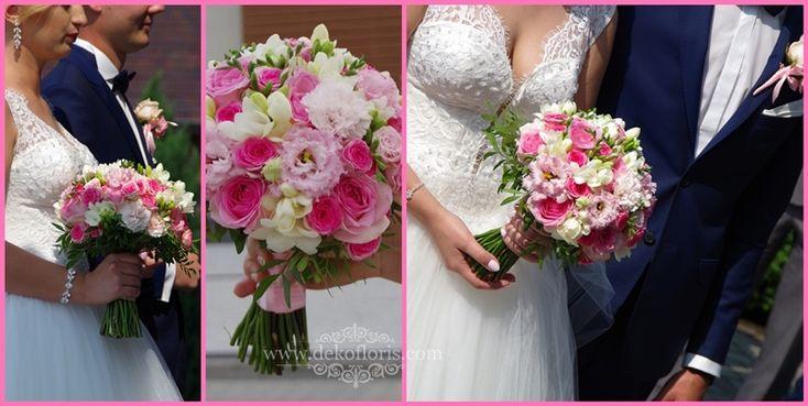 Dekoracje i bukiety ślubne - opolskie: Różowy bukiet ślubny róże, frezje i eustoma