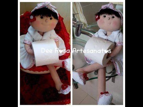 Boneca porta-papel higiênico, bracinho e suporte para ela ficar sentada! - YouTube
