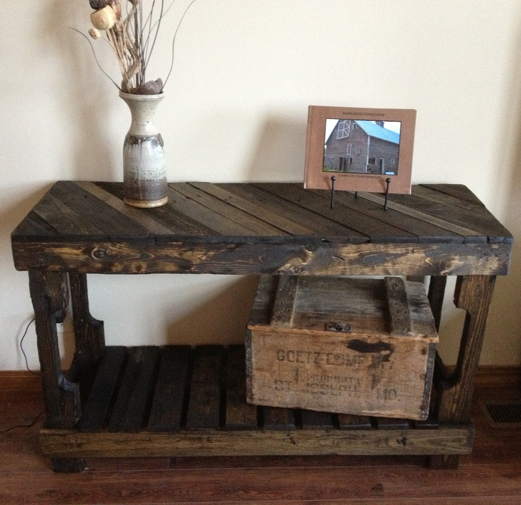 Pallet sofa entry table by the rustic recyclery 145 for for Sofa table made from pallets