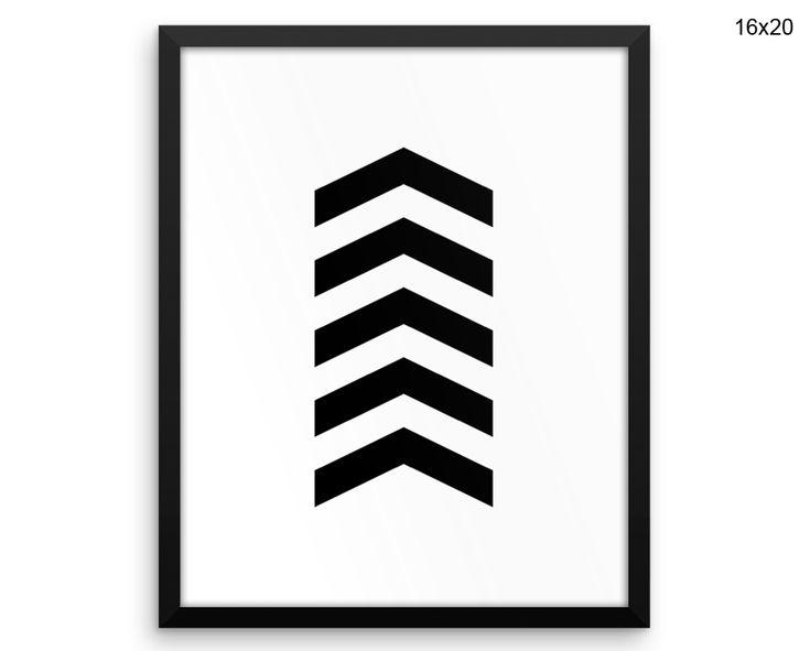 Scandinavian Printed Poster Chevron Framed Scandinavian Canvas Chevron and white arrows printable chevron art geometric Canvas Art black #canvas #frame
