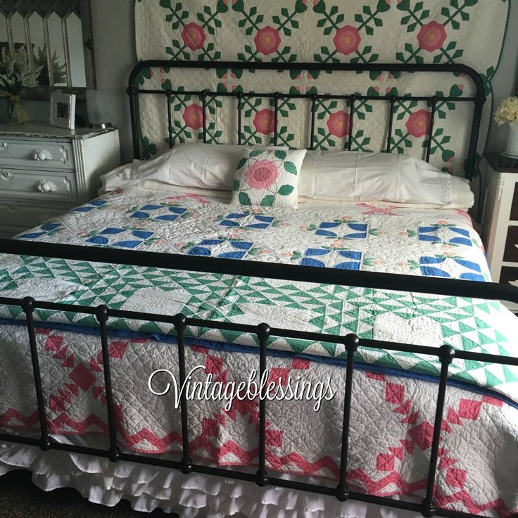 Loving the vintage cottage bedroom....all these quilts are available at Vintageblessings!