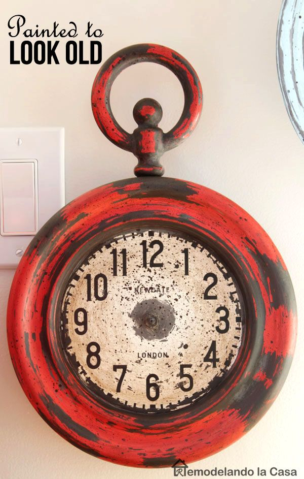 Can you believe this was a shiny brand new clock before given it this treatment?! How to paint metal to look old.
