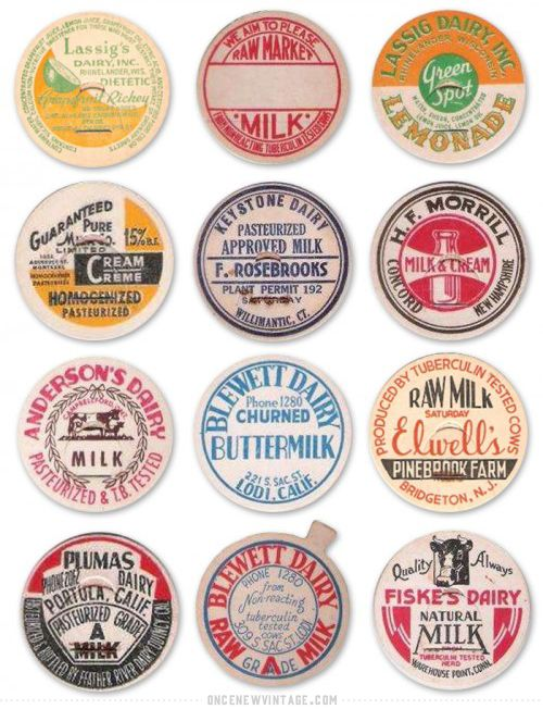 Milk Caps. Ceramic bottle cap project ideas from vintage caps.