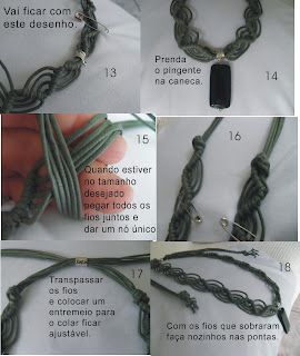 Como fazer colar de macramê com pedra - ARTESANATO PASSO A PASSO!