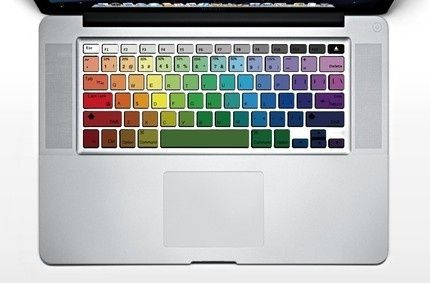 rainbow keyboard cover: Macbook Air, Macbook Keyboard Decals, Keys, Rainbows Keyboard, Colors, Apples, Things, Macbook Pro, Keyboard Stickers