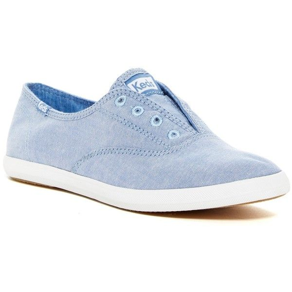 Keds Chillax Slip-On Sneaker ($30) ❤ liked on Polyvore featuring shoes, sneakers, blue, round toe shoes, slip on shoes, pull on sneakers, round cap and keds shoes