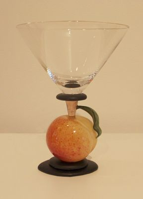 Margaret Neher - Peach Martini Glass, flameworked glass