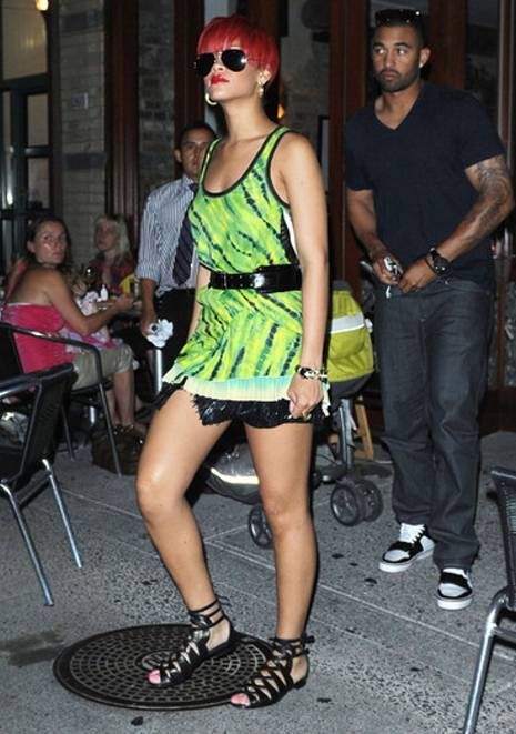 Rihanna Wearing Lime Green Outfit