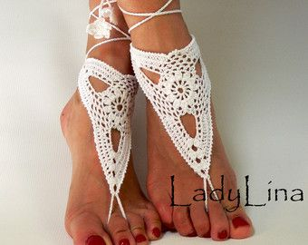 Crochet Barefoot Sandles, Foot jewelry, Wedding, Crochet Sandals, French Lace, White, GIFT WRAPPED