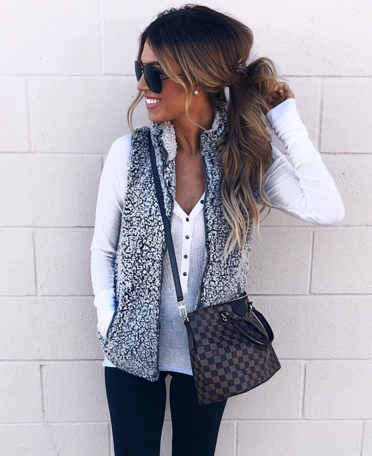 Top and Sherpa vest  #cozyncute